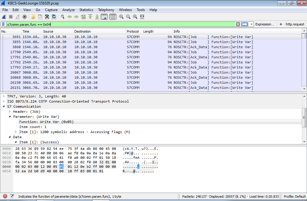 Wireshark Siemens S7comm