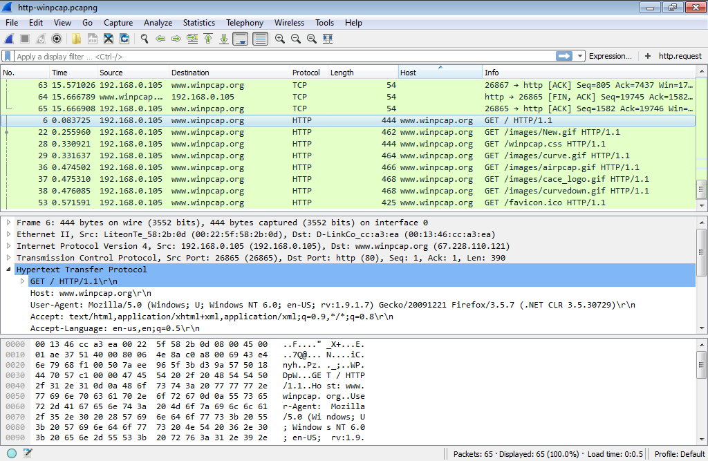 Wireshark host som kolumn