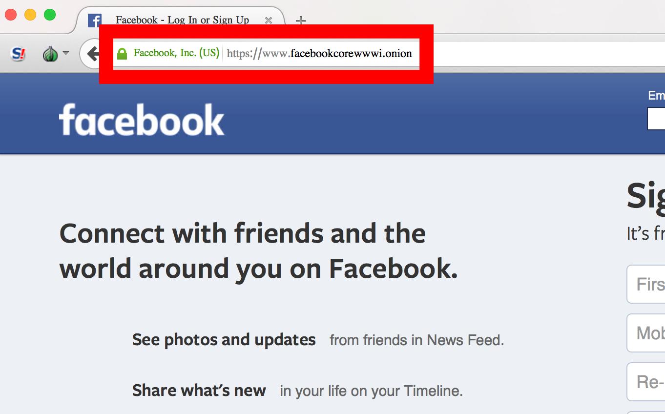 Facebook över Tor