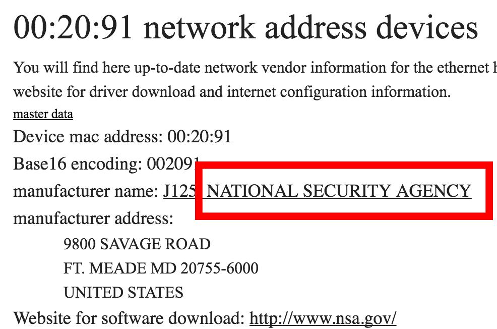 NSA MAC-adress