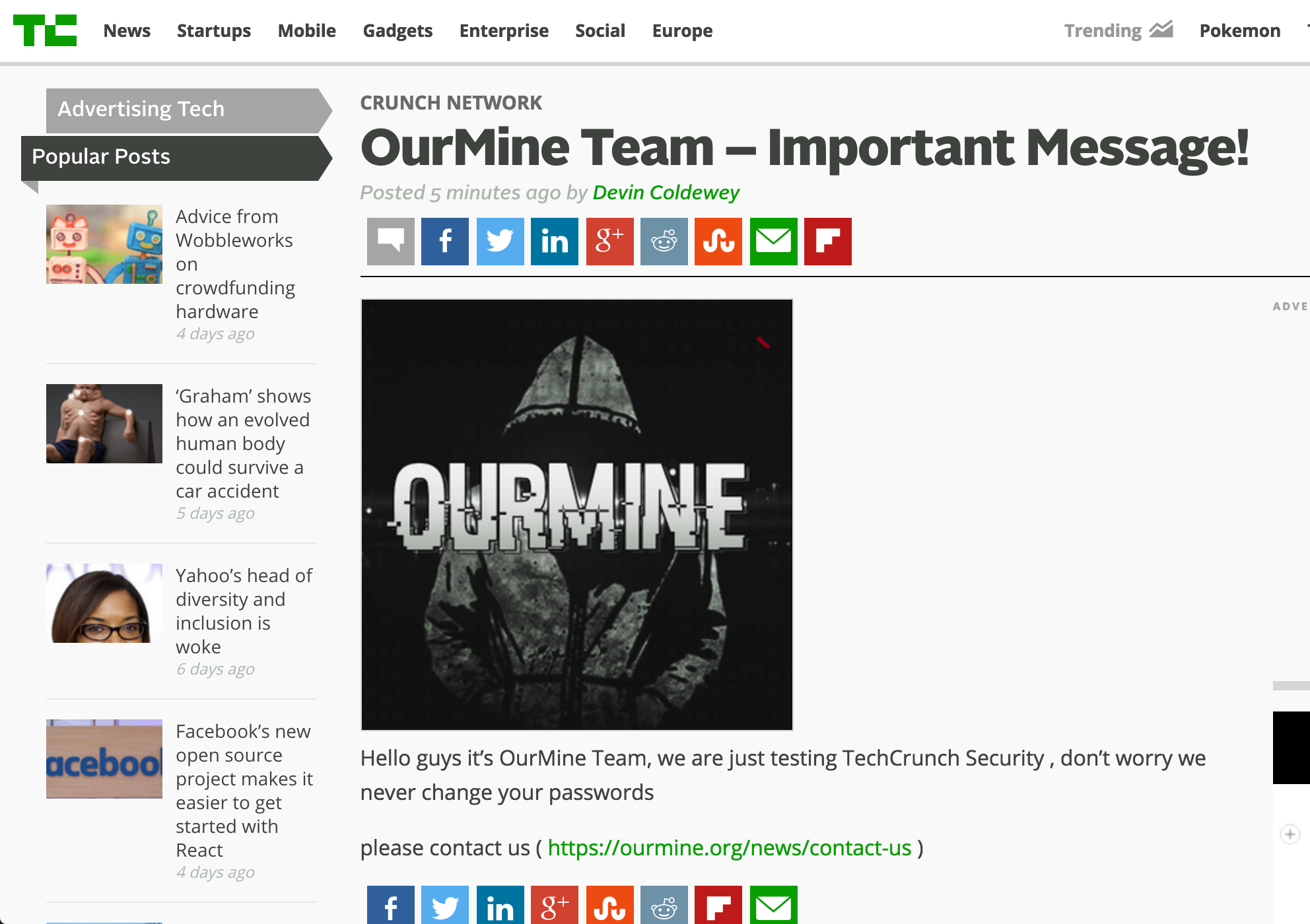 OurMine TechCrunch