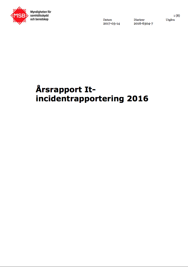 MSB Årsrapport IT-incidentrapportering