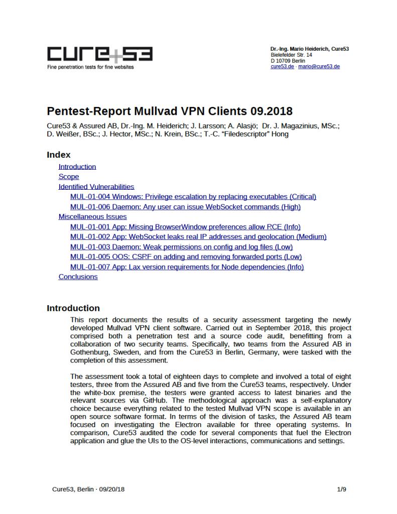 Cure53 och Assured AB granskning av MullvadVPN