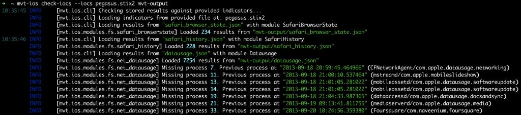MVT pegasus malware scan
